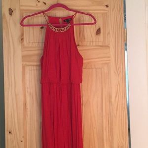 Dresses & Skirts - Red sundress with Aztec necklace trimming